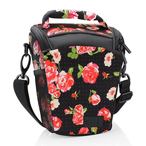 SLR/DSLR Camera Case Bag for Mirrorless , Micro 4/3 with Top Loading Accessibility , Adjustable Shoulder Sling , Padded Handle , Removeable Rain Cover & Weather Resistant Bottom by USA Gear - Floral