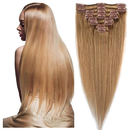 [Real Human Hair Extensions 16-22 inches Clip in hair Extension 8pcs Hairpiece 18clips #6 LIGHT BROWN 65g] (Android 17 And 18 Costumes)