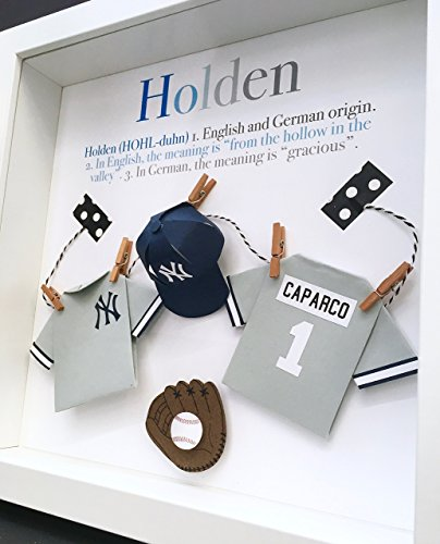 (Personalized New York Yankees Baby Frame with Name, Origin and Meaning Paper Origami Baseball Gift, Newborn Baby Shower Gift Nursery Decor Wall Art)