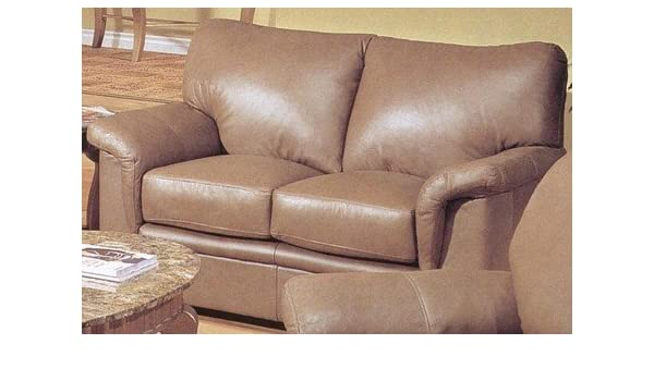 Amazon.com: Hermosa Mocha Chocolate 100% All Leather Couch ...