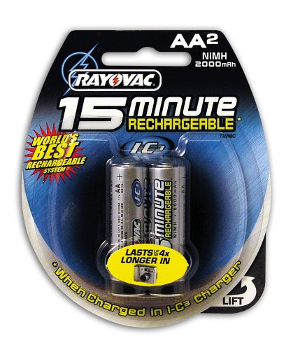 Rayovac 15 Minute AA Rechargeable NiMH Batteries, I-C3, 6-Pack
