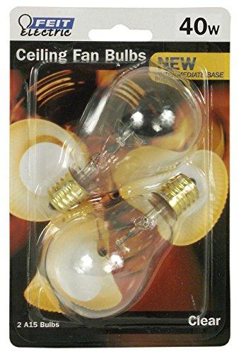 Feit Electric BP40A15N/CL/CF 40 Watt Clear Ceiling Fan Light Bulb 2 Count