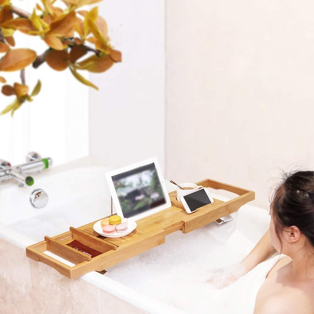 Bathtub Trays bath caddy bath tray bath board Bamboo bathtub frame bathroom bath telescopic long bathroom multi-function rack(bathtub pillow) ( Color : Natural+White , Size : 74.523+3223cm ) by ZhaoLiRuShop (Image #2)