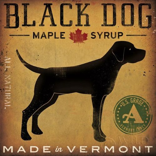 Black Dog maple Syrup by Ryan Fowler 12x12 Signs Dogs Black Labrador (Antique Dog Art)