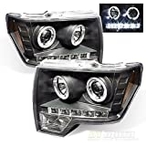 Black 09-14 Ford F150 Halo Projector Headlights w/Daytime DRL Led Running Lights