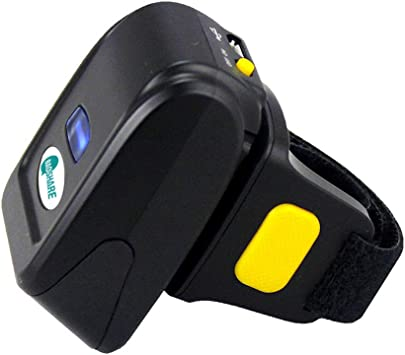 iOS 380mA Battery Mac OS Android 4.0+ Alacrity Portable 1D Barcode Scanner,Wearable Ring Wireless Finger Mini Bar Code Reader Compatible for Windows