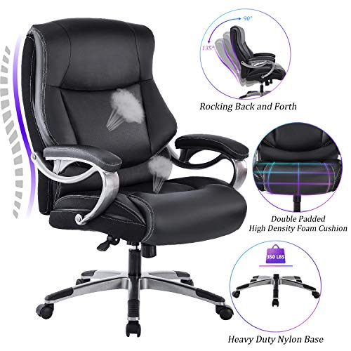 REFICCER Big & Tall High Back Executive Office Chair - Bonded Leather Ergonomic Computer Desk Swivel Chair with Tilt Function, Thick Padding Headrest and Armrest, Black
