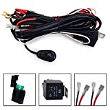 KAWELL Universal 2 lead LED Light Bar Wiring Harness Kit with Fuse Relay ON/OFF Switch for LED Offroad Driving light LED lamp fog light work light (12V 40A waterproof)