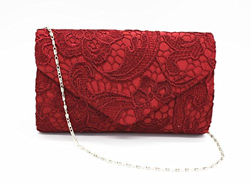 Shoulder Bag by QSEVEN Red Lace Evening Girly Wine Shape HandBags Envelope Party Woman Clutch Fwx8q1zZ