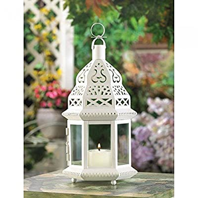 2 White Moroccan Style Lanterns Candleholder Centerpiece