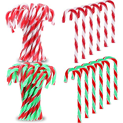 Gejoy 50 Pieces Christmas Candy Cane Twisted Plastic Candy Cane Xmas Tree Decoration for Christmas Tree Hanging Ornaments