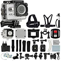 4K HD DV 16MP Sports Action Camera (White) - Wi-Fi + Wrist RF + 170° Wide Angle Lens + Waterproof Case & Backdoor + Bike Mount + Chest & Head Strap + Monopod/Selfie - Deluxe Valued Accessory Bundle