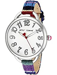 Betsey Johnson Womens BJ00067-29 Silver-Tone Watch with Multicolor Cloth Band