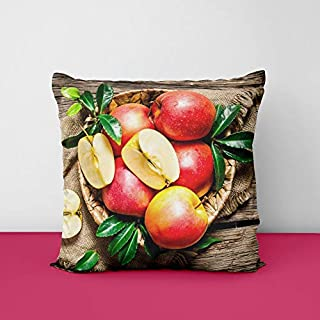 Decoretiv Apple Square Design Printed Cushion Cover