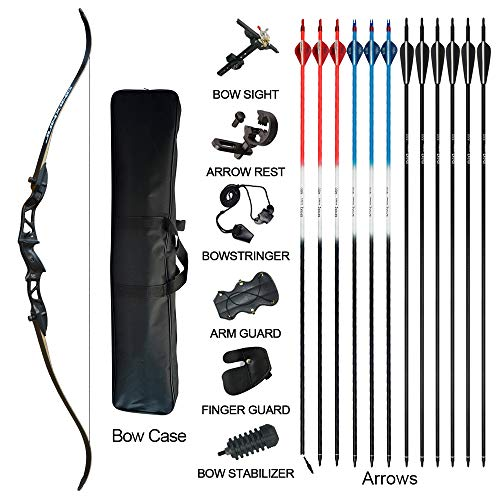 Tongtu Takedown Recurve Bow and Arrow for Adults Kit 20 22 24 26 28 30 32 34 lb Aluminum Alloy Riser Archery Practice Set Hunting Shooting Competition Set with Bow Case Right Hand