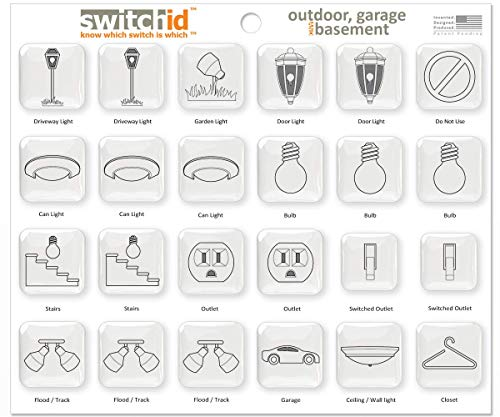SwitchID Outdoor, Garage & Basement Switch Label and Decal Identifiers, 2D Design - Clear