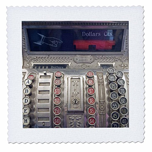 - 3dRose qs_97252_1 Wyoming, South Pass City. Antique Cash Register-US51 BJA0059-Jaynes Gallery-Quilt Square, 10 by 10-Inch