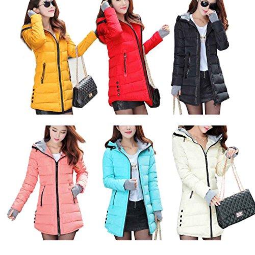 Rojo Coat Largo Jacket Winter Slim Down Park Cottonas Larga Mujeres Mediana Manga con Capucha Espesa 6OYxqwB