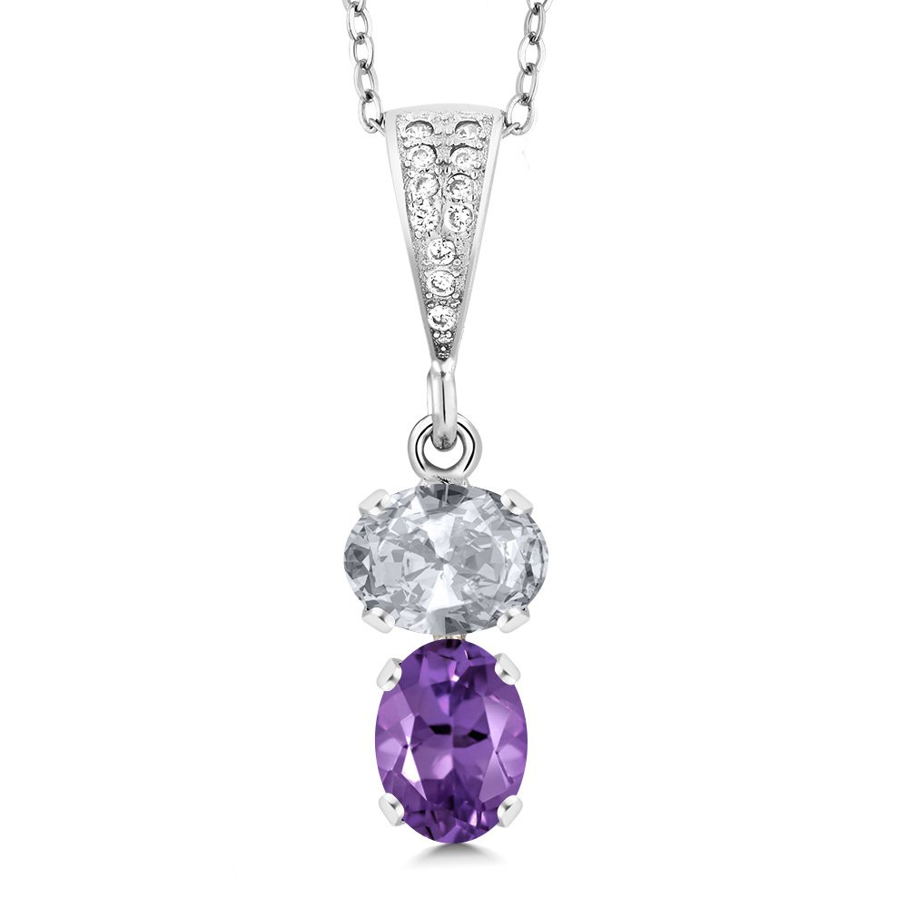 Gem Stone King 2.37 Ct Oval White Topaz Purple Amethyst 925 Sterling Silver Pendant