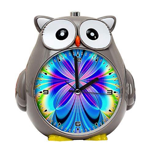 girlsight1 Owl Alarm Clock for Kids, Silent Non-Ticking Cartoon Quartz Loud Alarm Clock, Cute, Handheld Sized, Backlight, Personality Pattern flower308.Abstract Art, Design, Digital Art