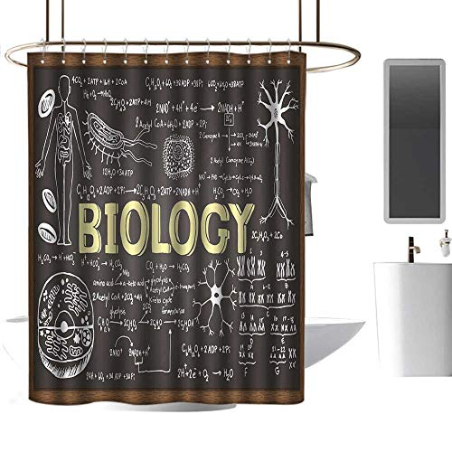 Mannwarehouse Educational Home Decor Shower Curtain Black Chalkboard Biology Hand Written Symbols School Classroom Western Shower Curtains W72 -