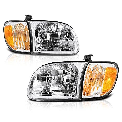 VIPMOTOZ For 2000-2004 Toyota Tundra Headlights - [2-Door Cab Models] - Metallic Chrome Housing, Driver and Passenger Side