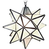Moravian Star Pendant Light, Frosted Glass, Silver Frame, 12""