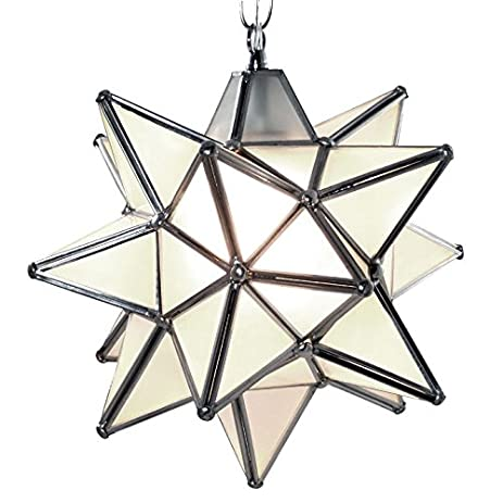 Moravian Star Pendant Light, Frosted Glass, Silver Frame, 12u0026quot;