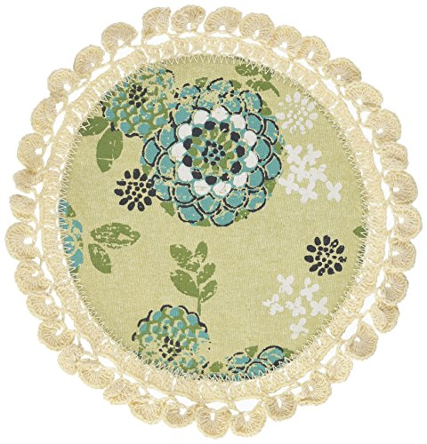 Heritage Lace Round Zinnia Doily, 12-Inch, Green, Set of 2 by Heritage Lace