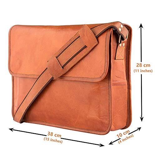 Leather Messenger Bags for Men & Women New Job for Teen Boys Laptop Shoulder Bag Office Work Executives Briefcase Cross body Fit - Flap Over Vintage Brown Satchel Bag Size 15 inch