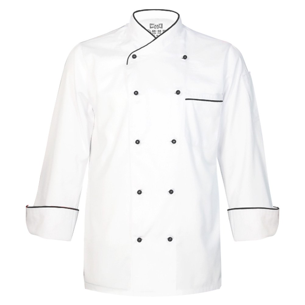 10oz Apparel Long Sleeve White Chef Coat with Black Piping S