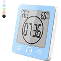 Feeilty Baño Ducha Reloj, Despertador Termómetro Ducha Ventosa