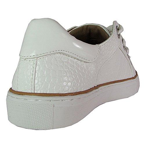 Steven Steve Madden Kvinna Naturlig Komfort Union Sneaker Vit Croco