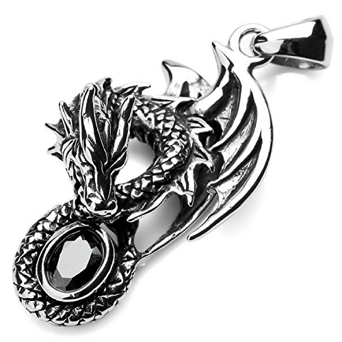 MENDINO Mens Gothic Biker Tribal Stainless Steel Dragon Pendant Necklace With 22 inch Chain -