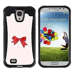"Pulsar iFace Series Tpu silicona Carcasa Funda Case para Samsung Galaxy S4 IV I9500 , Punto Rojo Rosa Bowtie Peach"""