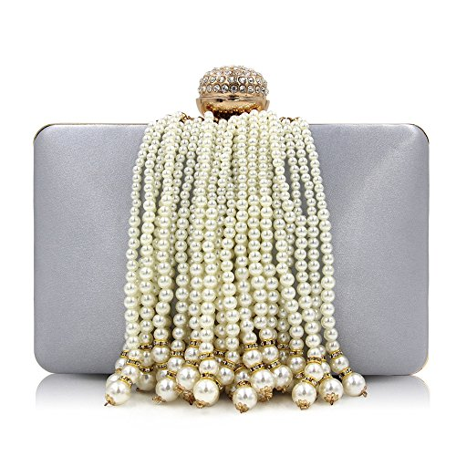 Pearl Decorate Purse Bag Color Fringed Wedding Silver Women Elegant Rabbit Evening Dress Unique Clutch Lovely Silver Clutch 4qXOtvW