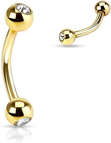 Dynamique Gold Plated Over 316L Surgical Steel Eyebrow//Curved Barbell With Clear Gems Sold Per Piece