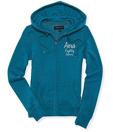Aeropostale Womens Aero Eighty Seven Hoodie Sweatshirt, Green, X-Large (Clothing Aeropostale)