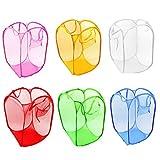 5 PCS Foldable Pop Up Laundry Bag Basket (fine mesh-random color)