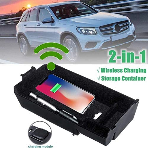 Toogoo Auto Drahtlose Handy Lade Station Zentrale Armlehne Aufbewahrungs Box Fuer Mercedes Glc C Klasse Auto