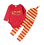 """Sagton """"my other stroller is a nimbus 2000"""" Kids Baby Girls Boys Clothes Set Outfit Long Sleeve Romper+Stripe Pants+Hat 3pcs"""