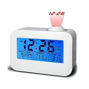 Wildlead Reloj Despertador de proyección Multifunción LCD Digital Voz Que Habla LED Reloj de Temperatura: Amazon.es: Hogar