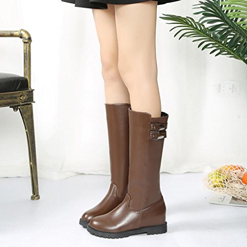 Leather Boot Knee The Brown Thigh Womens Shoes Winter Heels High Increased Sikye Flat Over Boots q1EzTq