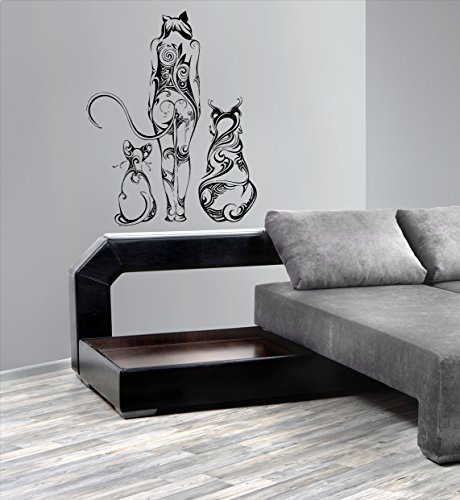 Animal Girl Dog Cat Meditation Kids Room Children Stylish Wall Art Sticker Decal G10003 by CristinaDecals