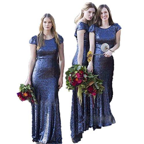 Kleid Brautjungfern kleider Rückenfrei Partei Ballkleid Abendkleider Paillette CoCogirls Prickelnde Marine Meerjungfrau qPHpYwnO