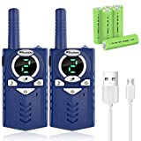 MALENOO Kids' Walkie Talkies, Rechargeable 5 Mile Easy to Use 3 Channel Design,Included Battery and Charger Best Gifts & Top Toys for Boy & Girls Age 3 4 5 6 7 8 9 for Outdoor Adventure Game