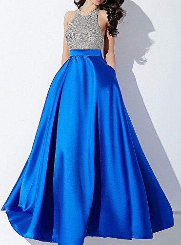 Homecoming Halter in sera Green abiti abito abito lungo da rilievo Prom Blue Backless FxAqSnS