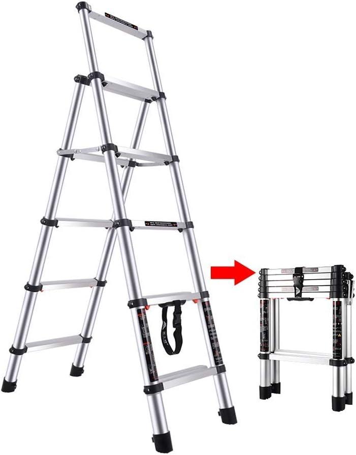 LADDER Escaleras telescópicas, Escaleras telescópicas plegables profesionales, Escalera de extensión de aluminio multiusos con protección para los dedos, Capacidad de carga de 330 lb: Amazon.es: Bricolaje y herramientas