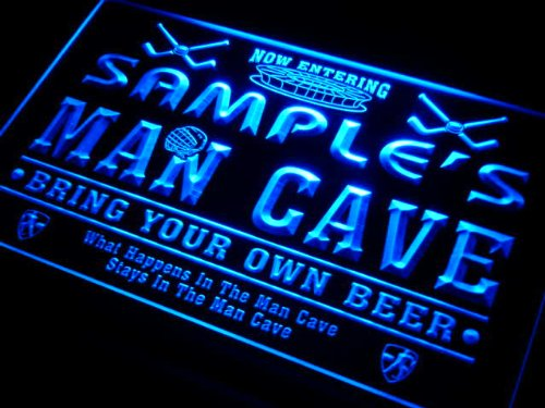qe1564-b Christian's Man Cave Hockey Bar Neon Sign by AdvPro Name