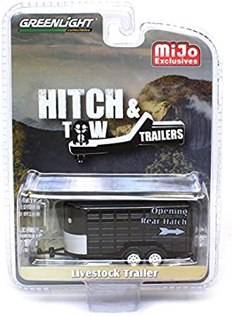 1:64 Greenlight Metallic Gunmetal Gray Livestock Trailer Hitch and Tow 51302